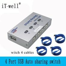 IT-well usb-хаб, автоматический usb-переключатель, 4 порта, usb-разветвитель для компьютера, ПК, общий доступ к печати, 4 компьютера, чтобы поделиться 1 usb-устройством IT-104AU
