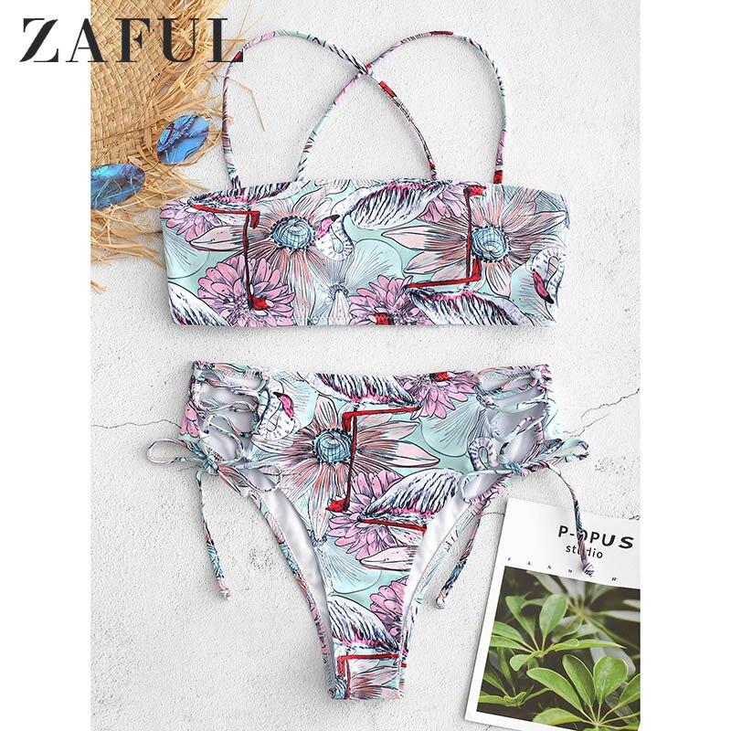 ZAFUL haut coupe bretelles flamant imprimé Bikini ensemble femmes brésilien plage maillot de bain pour femme maillot de bain Biquinis