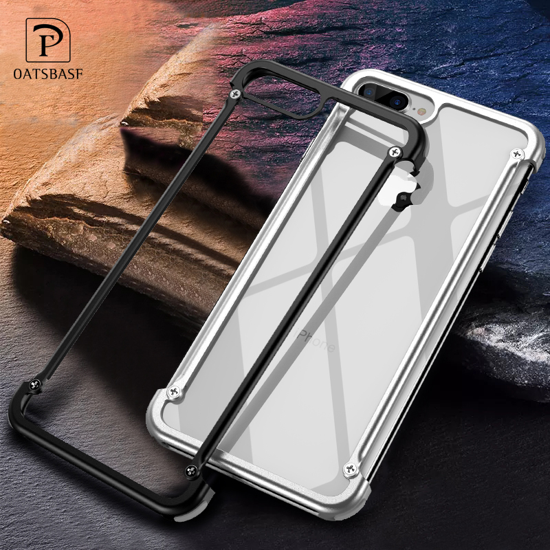 OATSBASF Airbag Metal Case For iPhone 8 Case Personality Airbag Shell for iPhone 8 Plus Metal Bumper cover with Gift Glass Film in Phone Bumpers from Cellphones Telecommunications