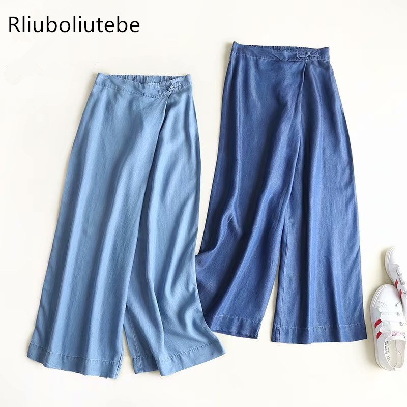 tecel denim   wide     leg     pants   lace up bow blue light blue soft Jeans loose palazzo   pants   elastic waist casual spring   pants   summer