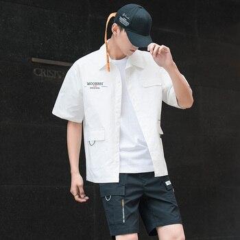 Men's Shirt Summer Short Sleeve Shirt Solid Color Comfortable Men's Tops Fashion Clothes
