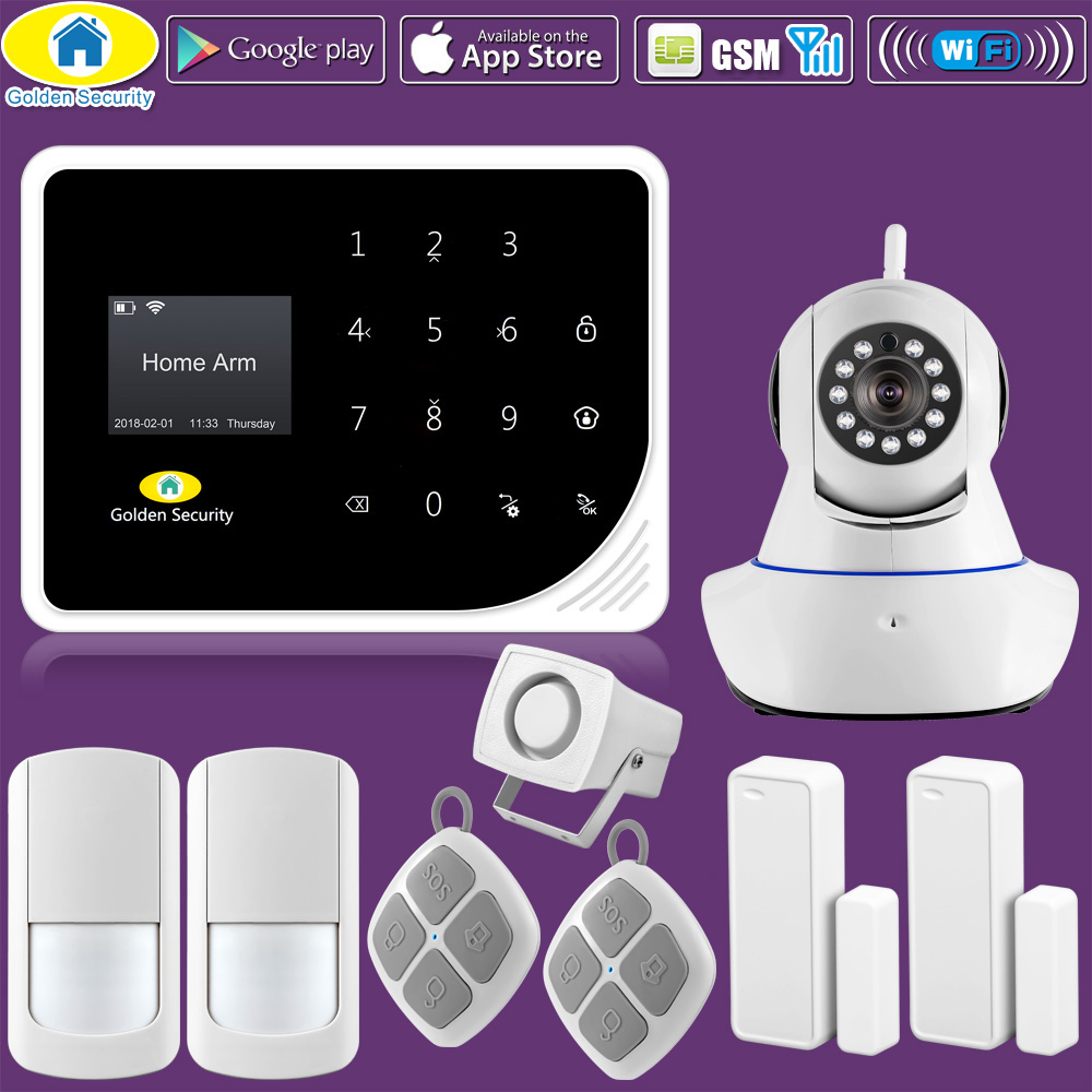 Golden Security Russian Spanish English S5 WIFI GSM Alarm System Security Home 720P IP Camera APP Control PIR Motion DIY Kit the learner s russian english dictionary