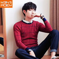 New Men S Leisure Long Sleeve Knitting Round Neck Plaid Pattern Sweaters