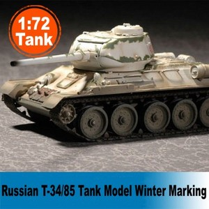 Assembled Tank Model 1:72 Scale Static Tank Model Russian T-34/85 Winter Marking Colored Model Collectible Tank 36271
