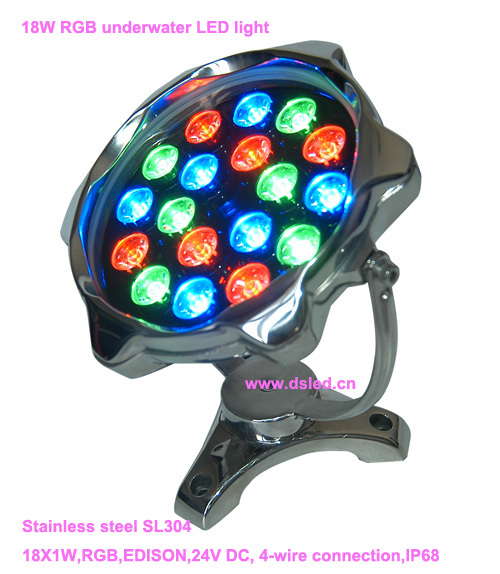 цена IP68,Stainless steel 18W RGB underwater LED light, RGB LED pool light,24V DC,DS-10-67-18W,good quality,2-Year warranty
