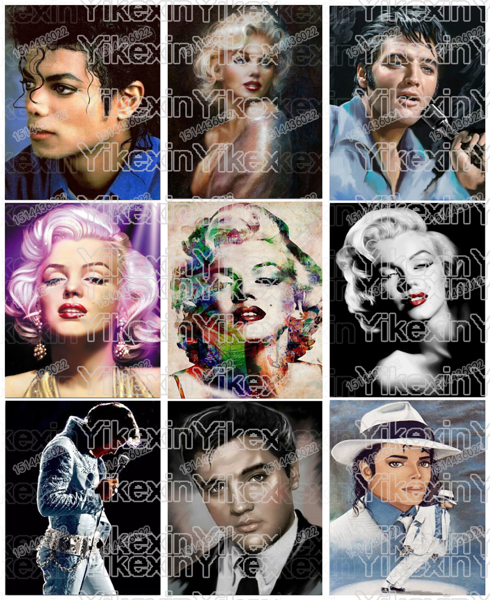 Elvis Marilyn Monroe Us 48 40 Off Full Round Drill 5d Diy Diamond Painting Marilyn Monroe Elvis Mike Jackson 3d Mosaic Embroidery Cross Stitch In Diamond Painting