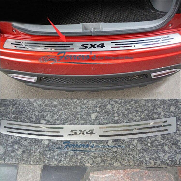 גבוהה באיכות נירוסטה אחורי אדן החלון פנל, אחורי פגוש מגן סיל עבור סוזוקי SX4 2007-2012 רכב סטיילינג רכב-מכסה