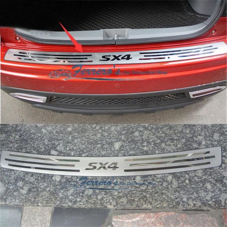 عالية الجودة الفولاذ المقاوم للصدأ لوحة النافذة الخلفية ، واقي مصد السيارة الخلفية عتبة لسوزوكي SX4 2007-2012 سيارة التصميم سيارة يغطي