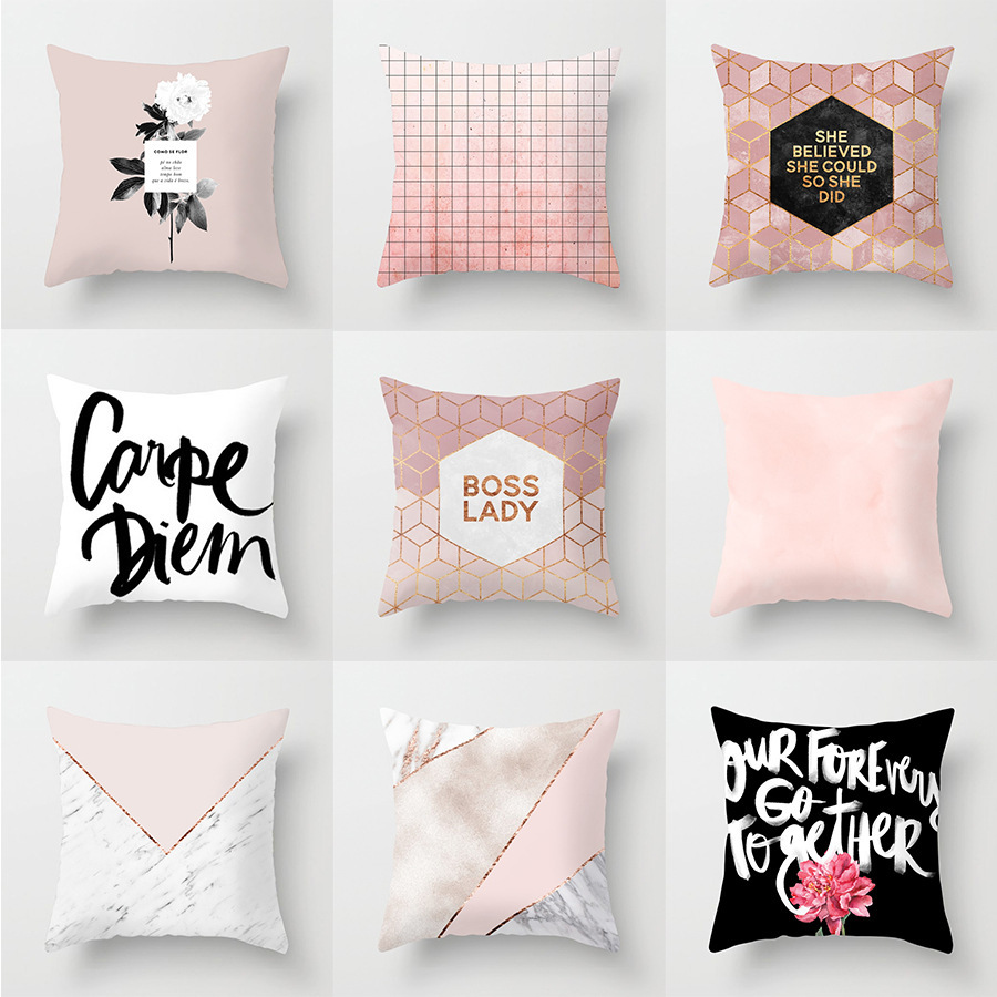 Geometry Pillow Case Cover Pink Flower Letter Polyester Ins Home Decorative Accessories 45x45cm