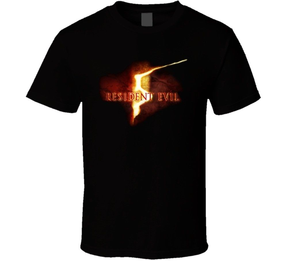 Resident Evil 5 Video Game Logo T Shirt 100% Cotton Short Sleeve O-Neck Tops Tee Classic Tops Tee Shirts Funny