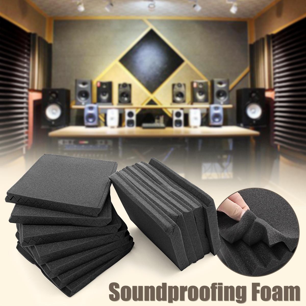 24Pcs 30x30cm Soundproofing Foam Acoustic Foam Sound Treatment Studio Room Noise Absorption Wedge Tiles Polyurethane Foam 12x soundproofing foam acoustic absording treatment foams home wall car wedge tiles studio foam ktv studio noise sponge foam us