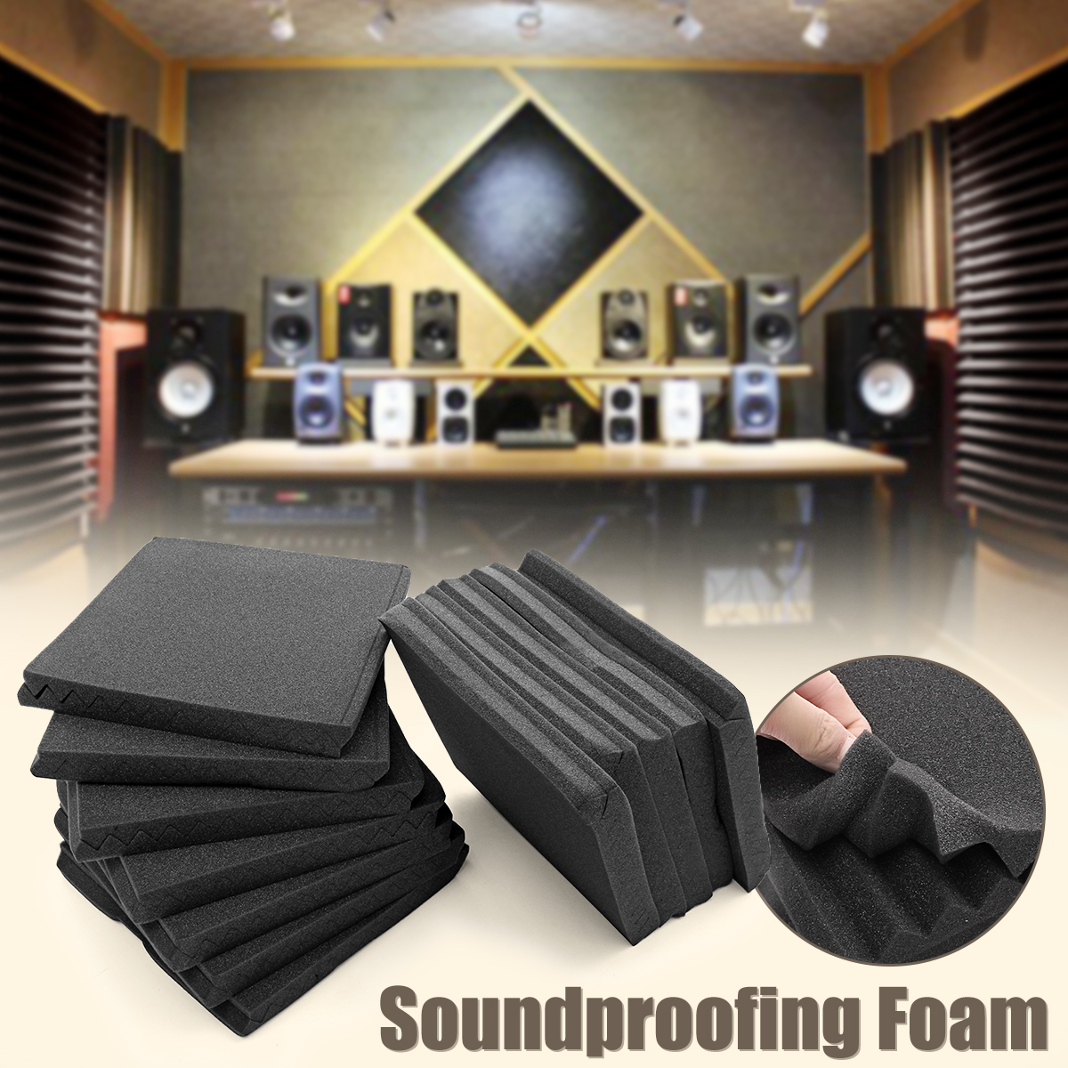 24Pcs 30x30cm Soundproofing Foam Acoustic Foam Sound Treatment Studio Room Noise Absorption Wedge Tiles Polyurethane Foam foam
