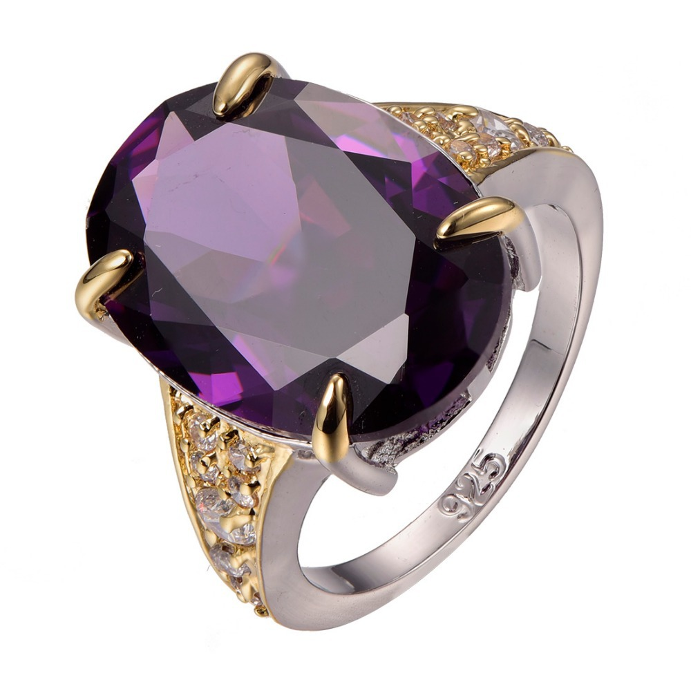 Hot Sale Huge Amethyst 925 sterling silver White Sapphire Best Quality Ring Size 6 7 8 9 10 F1296