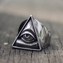 Mens Masonic Stainless Steel Ring Illuminati Triangle Eye of Providence Biker Rings Punk Freemasonry Jewelry
