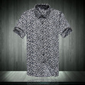 summer new shirts men slim casual short-sleeve shirt leopard print shirt men x13-40