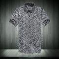 Verão novas camisas homens slim casuais camisa de manga curta leopard print camisa dos homens x13-40