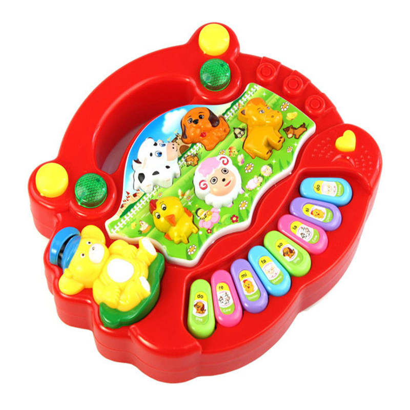 snowshine3 YLI New Useful Baby Kid Animal Farm Piano Music Toy Developmental Red Table game