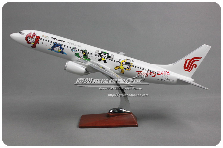 47cm Resin Beijing Olympic Games Mascot Fuwa Airplane Model Boeing 737-800 Airlines Airbus Airways Aircraft Plane Aviation Model phoenix 10598 south african airways zs sng a340 600 beijing 2012 1 400 commercial jetliners plane model hobby