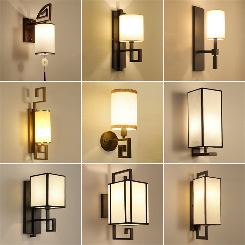 12 Types Chinese Style Fabric Wall Lamp LED Living Room Bedroom Wandlamp Stairs Aisles Porch Wall Light Luminaria De Parede