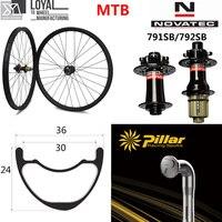 29er MTB углерода колеса 36*24 мм бескамерные обода для XC/AM горный велосипед комплект колес Novatec D791SB D792SB 6 болт QR или Boost