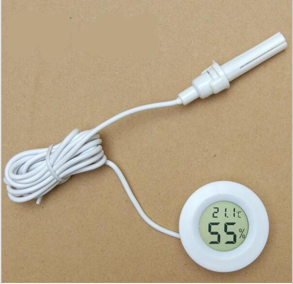 white mini Humidity tester Hygrometer Thermometer Round Temperature meter probe for Aquarium Freezer Refrigerator with line