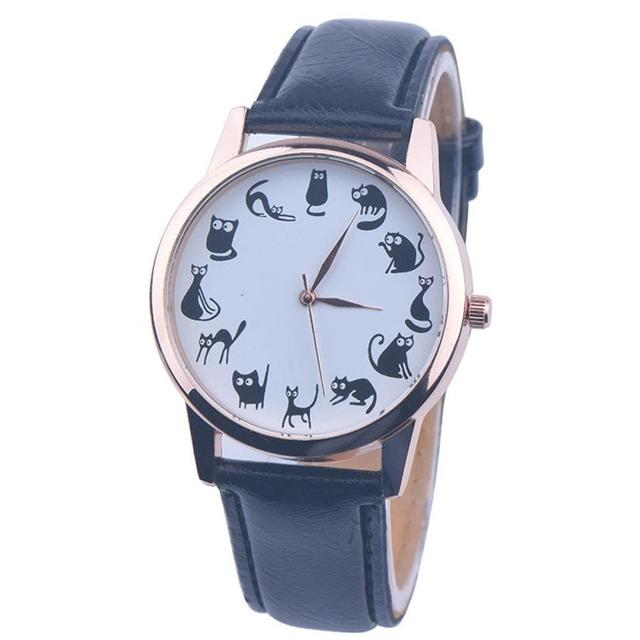 Fashion Women Leather Band Watches Famale Clock Ladies Elegant Cute Cat Dial Qua