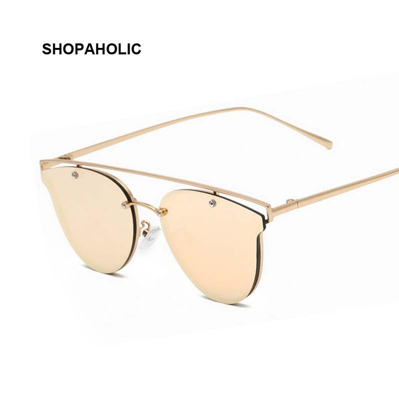 7fd7d1dd7efcab 2017 Or Rose Cat Eye lunettes de Soleil Femmes Marque Designer Vintage  Double-Poutres Miroir Lunettes de Soleil Femme Mode Cateye Glases