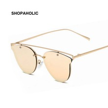 2017 Rose Gold Cat Eye Sunglasses Women Brand Designer Vintage Twin-Beams Mirror Sun Glasses Female Fashion Cateye Glases