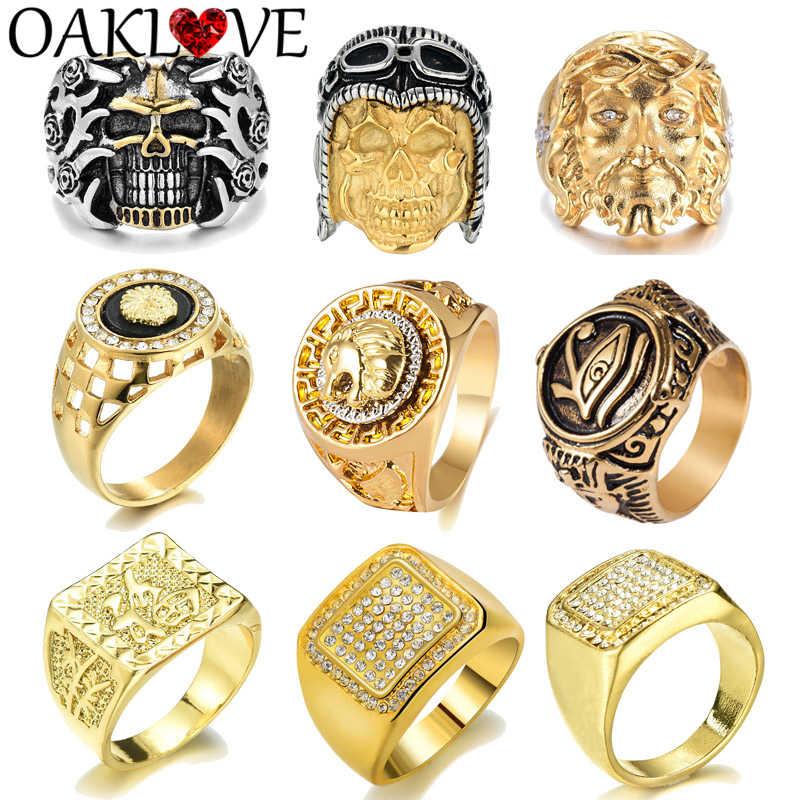 VINTAGE อียิปต์ฟาโรห์ Skull PILOT Hip Hop Eye of Horus GOLD Finger แหวนสำหรับแฟชั่นผู้ชายเครื่องประดับแหวนคริสตัล