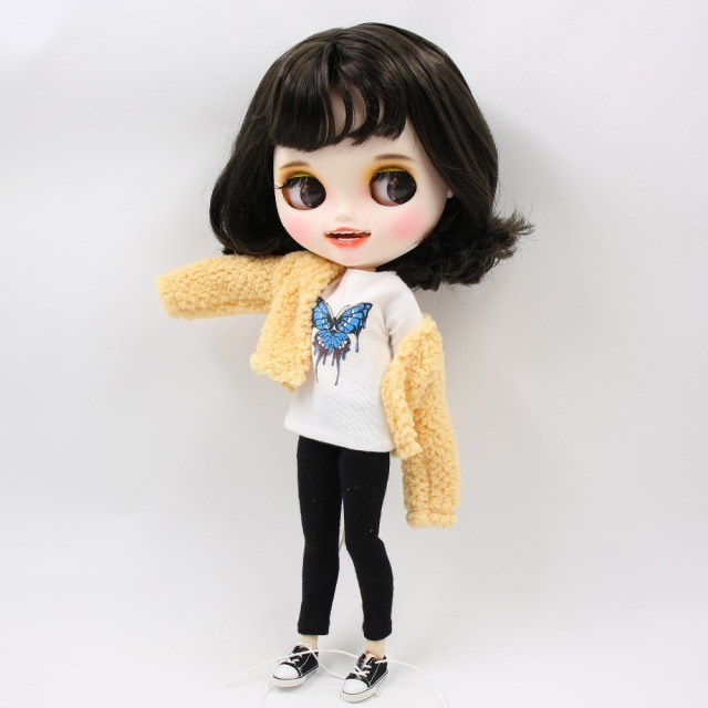 Neo Blythe Doll Fluffy Coat with T-Shirt & Pants