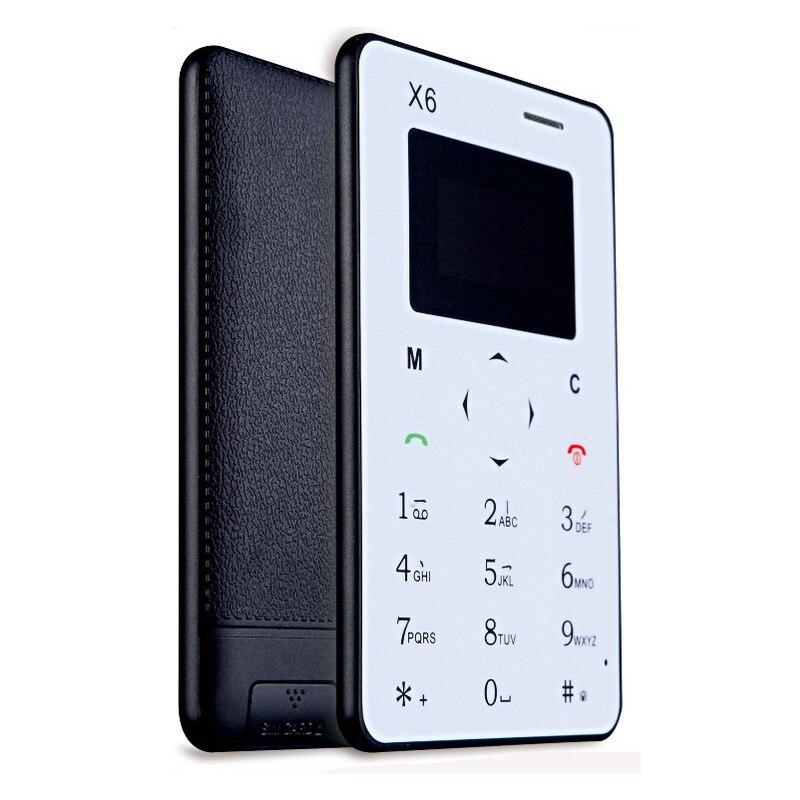 AIEK X6 Ultra Thin Card Phone Mini Phone English Arabic Russian Keyboard Low Radiation Mini Pocket