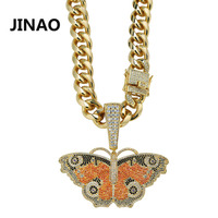 JINAO Hip Hop Sliver Gold Butterfly Pendant Necklace Micro Pave Zircon Iced Out Animal Jewelry Man Women Gift