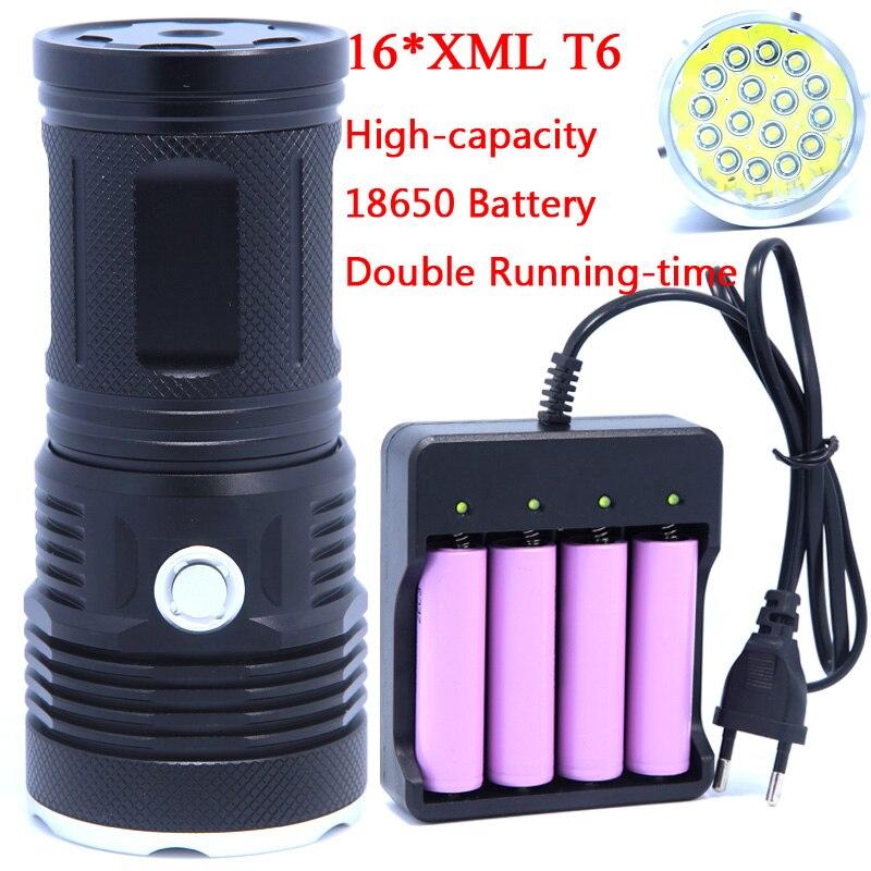 16T6 38000 люмен светодио дный вспышка света 16 * XM-L T6 светодио дный фонарик свет лампы для охоты кемпинг Применение Перезаряжаемые 18650 Батарея