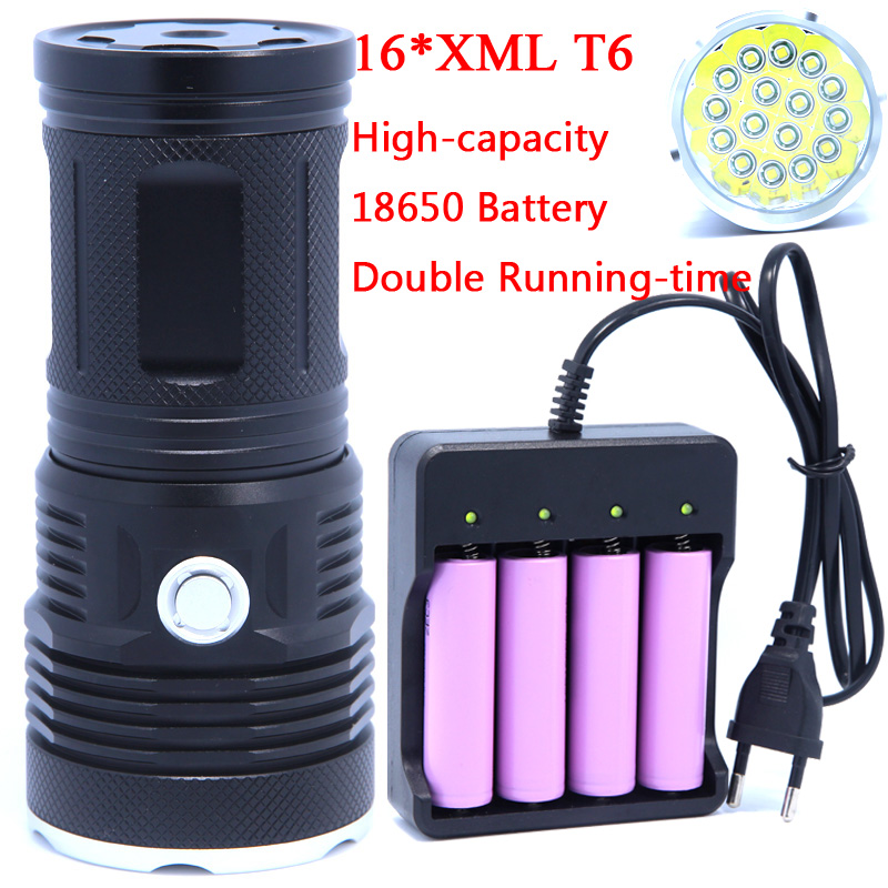 16T6 38000 lumens LED flash light 16*XM-L T6 LED Flashlight Torch Lamp Light For Hunting Camping Use Rechargeable 18650 Battery