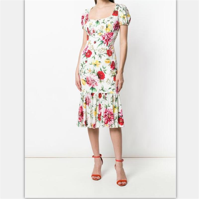 Robes cou Qualité Élégant Manches 2019 Designer Courtes Femmes O D'été Piste Supérieure Robe Imprimé Taille Grande CxRn4qwgp