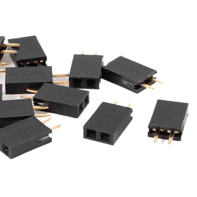 LNHF 16pcs Straight Single Row 2.54mm Pitch 2 Pins Connector Female Header