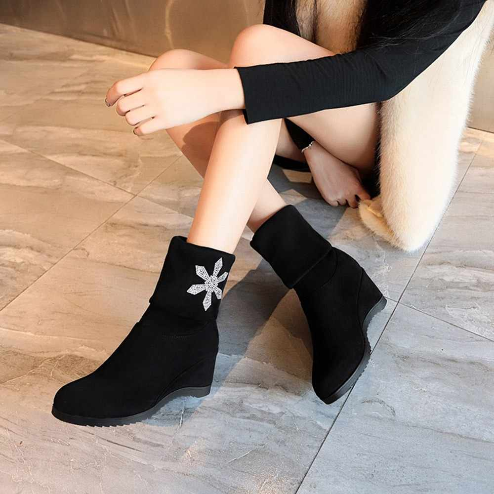 YOUYEDIAN รองเท้าผู้หญิง 2018 ฤดูหนาวรองเท้าคริสตัลเพิ่ม Wedges หญิงรองเท้าสีดำรองเท้าบูท Botas Mujer