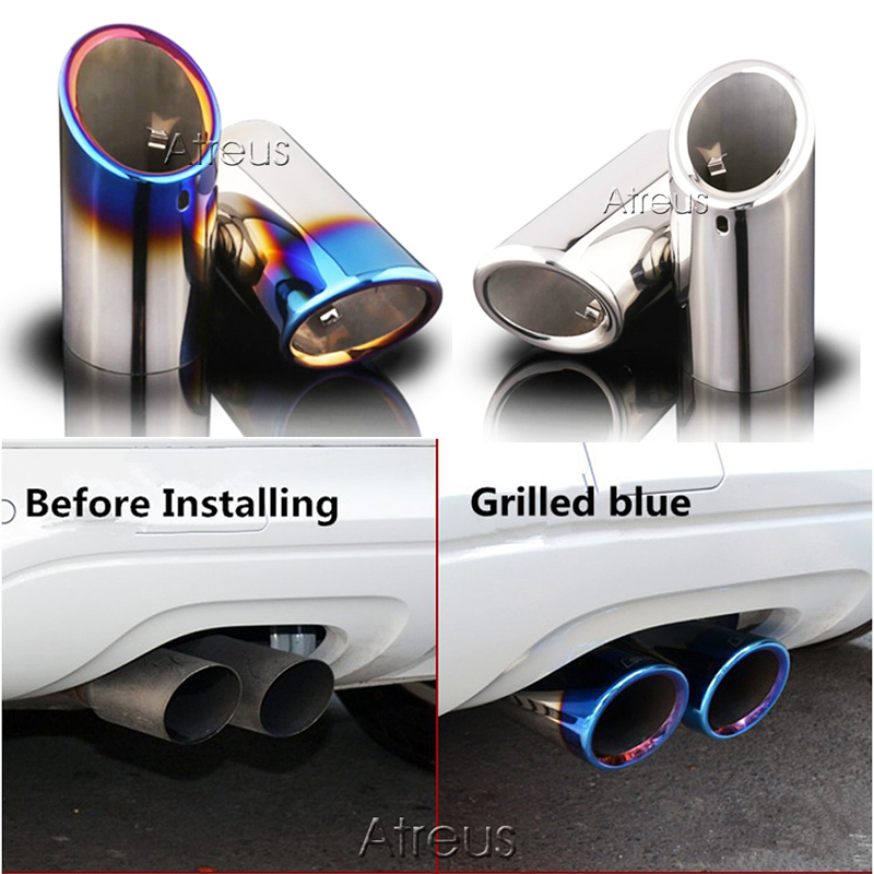 2PC Car Stainless steel Exhaust Tip Muffler Pipe Cover For Audi A4 B8 B9 A6 C6 C7 A3 8p 8v A5 Q5 Q7 Q3 A1 S line Accessories|Car Stickers| |  - title=