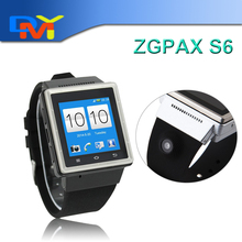 ZGPAX S6 Android Smart Uhr Telefon MTK6577 Dual Core 1,5 Zoll kapazitiven Bildschirm 2.0MP Kamera WIFI GPS Smartwatch Freies Verschiffen