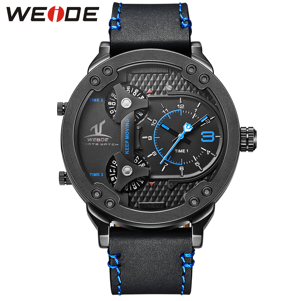 WEIDE Famous Brand Mens Watch Leather Strap Belt Band Big Black Dial Stainless Steel Back Quartz