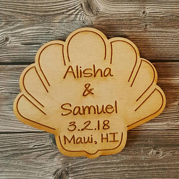 22d44b10f personalized Bride Groom names wood Seashell Wedding Save the Date Magnets engagement  bridal shower party favors company gifts -in Party Favors from Home ...