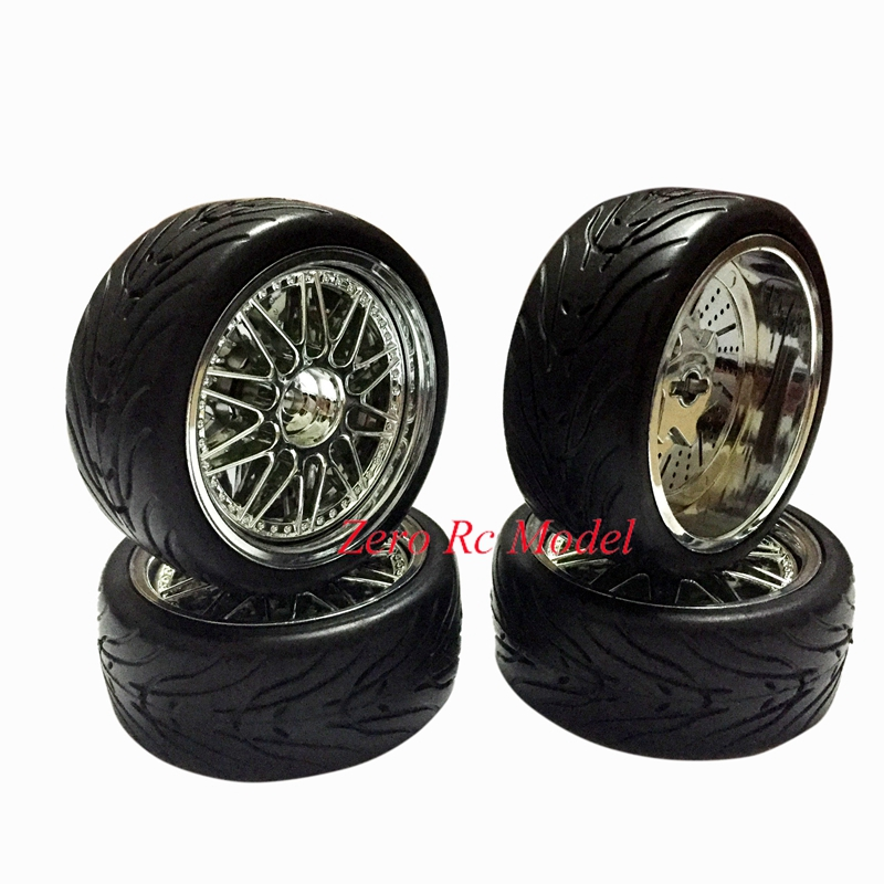 Online Shop 4pcs Rc Drift Car 1 9 Plastic Silver Wheel Rim Tires