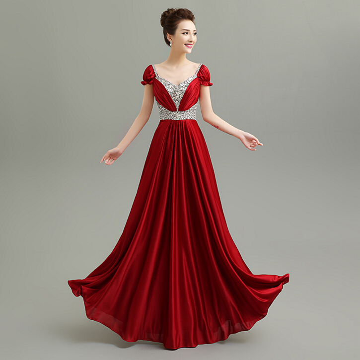 Long high fashion women full length dark wine red satin v for What is high fashion
