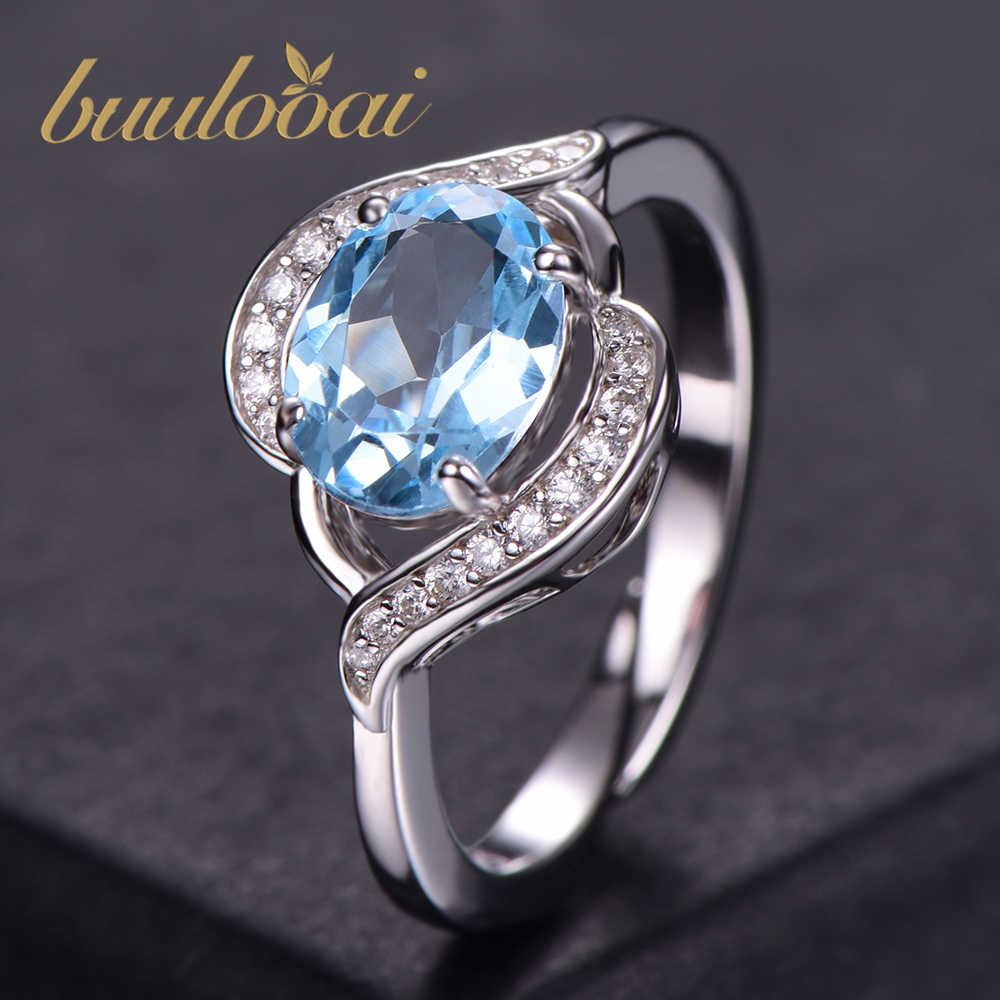 buulooai Sky Blue Topaz Rings for Women Real Solid 925 Sterling Silver Korean Gemstone Ring Girl Gift Wholesale Jewelry