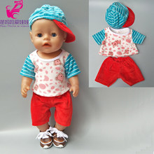 "baby boy doll clothes shirt pants cap for 18"" 43cm born bebe doll wearing toy baby girl Christmas gifts(China)"