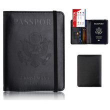 RFID Blocking Passport Cover PU Leather Passport Holder Case UNITED STATES OF AMERICA Travel Credit Card Holder new pu leather passport cover holder women men travel credit card holder travel id card document passport holder