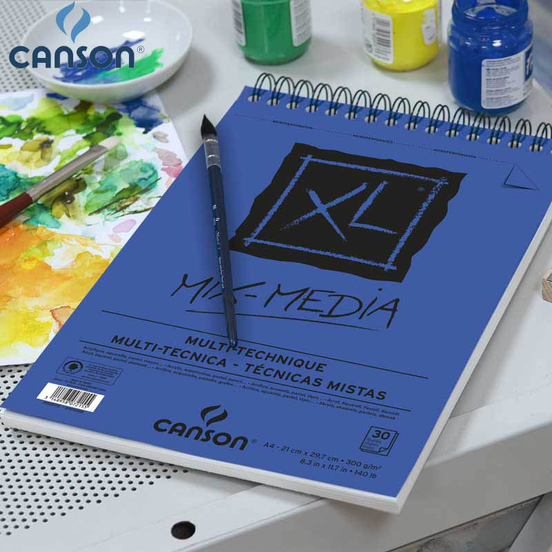 16K Canson XL Mix Media Pad Drawing Paper Watercolor Gouache And Acrylic Sketching Spiral Bound Medium Grain 300 G 25 Sheets