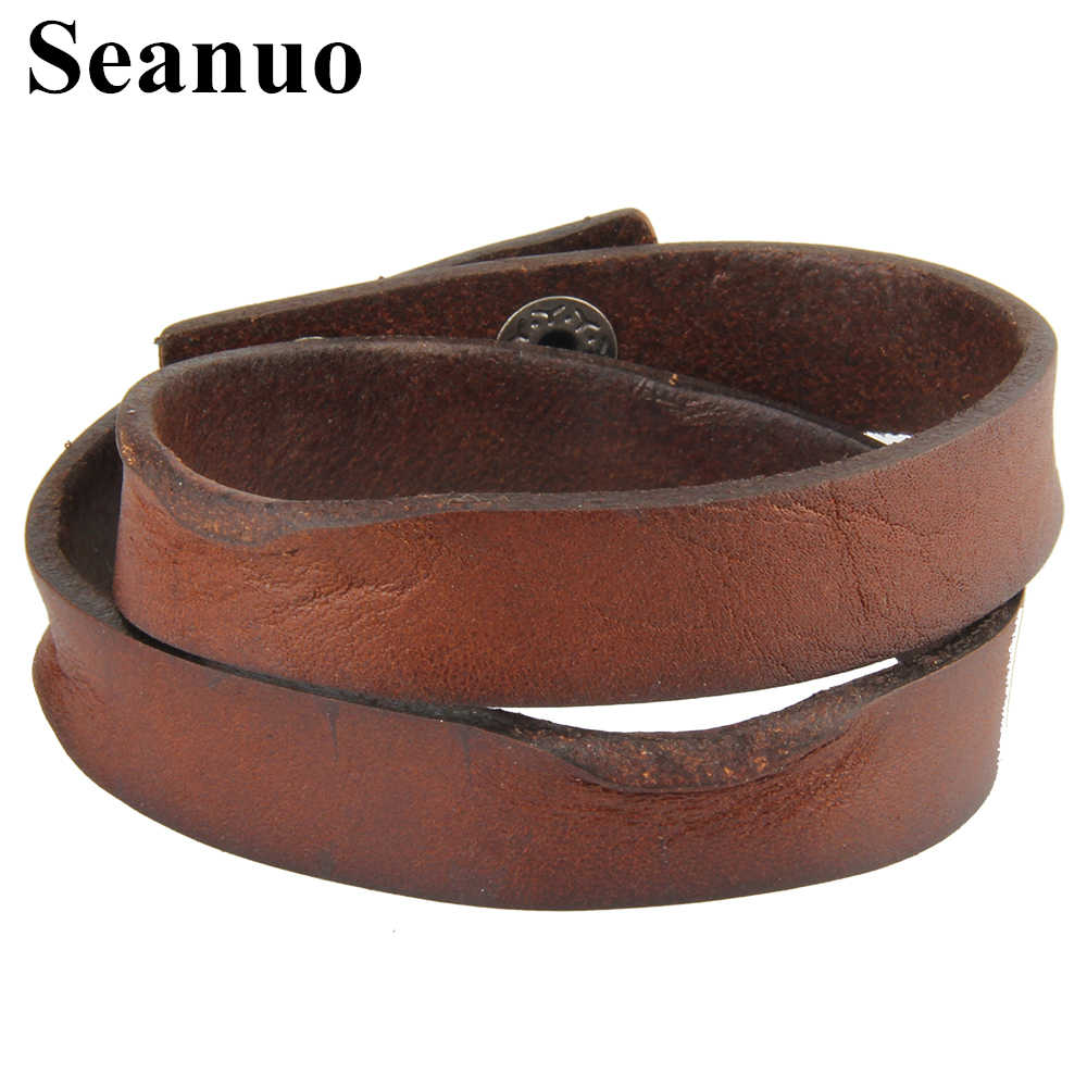 Seanuo 43cm Double layer twisted long genuine leather bangle jewelry men fashion punk charm wristband cuff male bracelet bijouxs