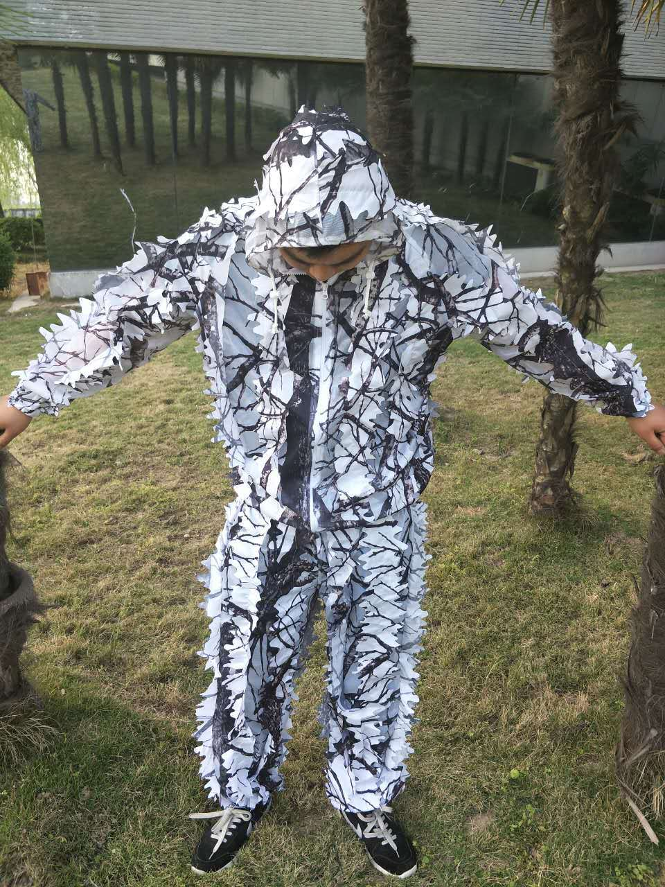 3D blanc neige prunier branches style camouflage ghillie costume bird watch airsoft chasse vêtements comprennent veste et pantalon