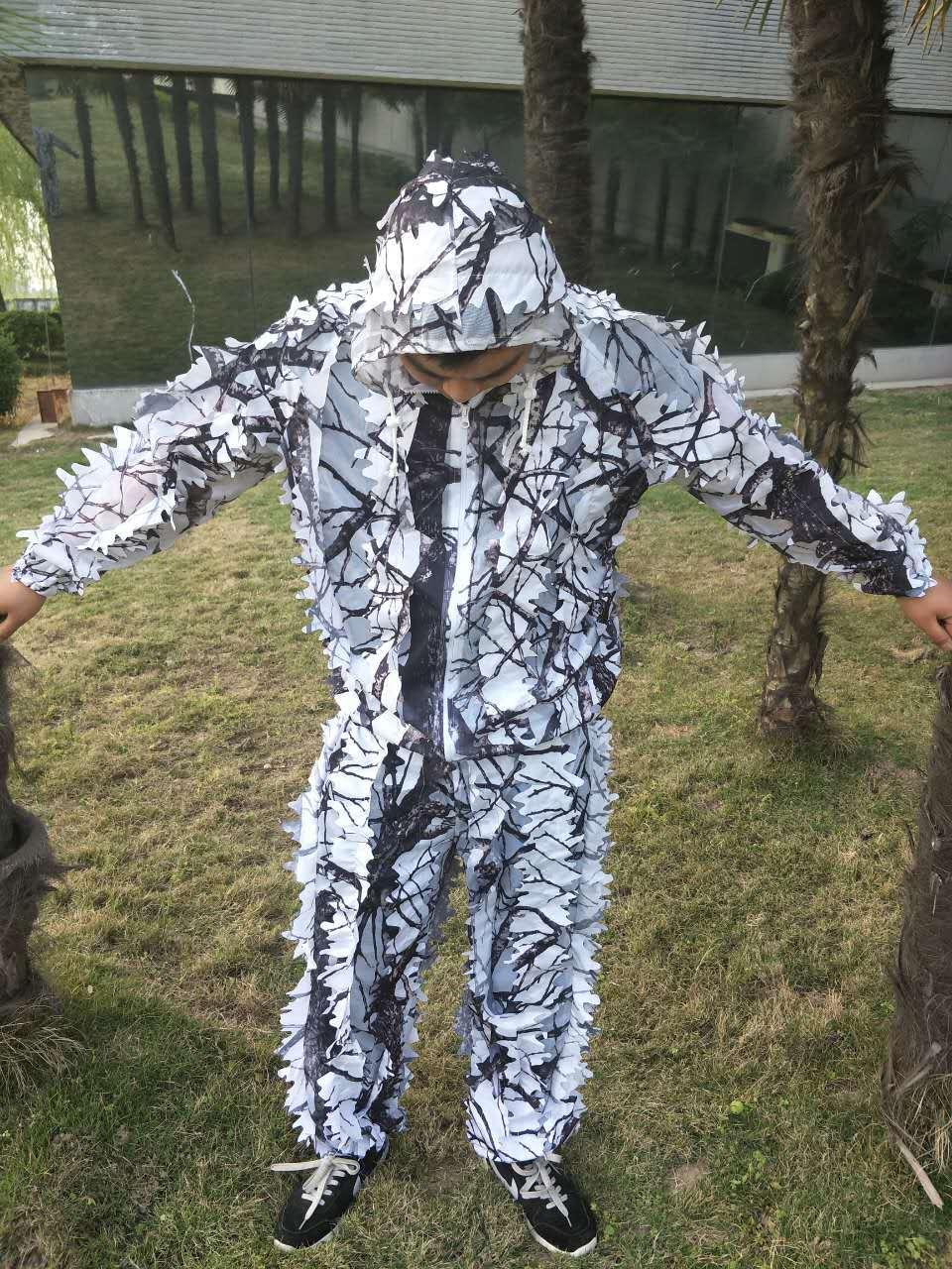 huge discount order get cheap € 20.92 50% de réduction 3D blanc neige prunier branches style camouflage  ghillie costume bird watch airsoft chasse vêtements comprennent veste et ...